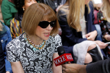Vogue editor-in-chief Anna Wintour is interviewed before the Michael Kors Autumn/Winter 2017 collection presentation during New York Fashion Week in the Manhattan borough of New York