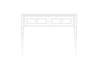 Front view of a luxurious white office table in white isolated background