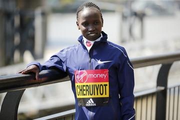 Vivian Cheruiyot of Kenya poses for a photo ahead of the 2017 Virgin Money London Marathon