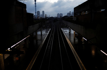 View of rail tracks at a closed metro Barra Funda station during a strike against Brazilian Social Welfare reform project from government in Sao Paulo