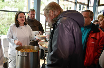 German Labour Minister Andrea Nahles visits soup kitchen in Berlin