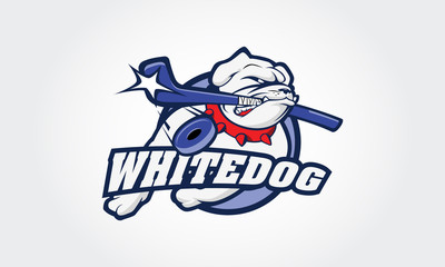 White Bulldog logo, this is a ice hockey sport logo, good for ice hockey team or ice hockey tournament. Vector logo illustration.