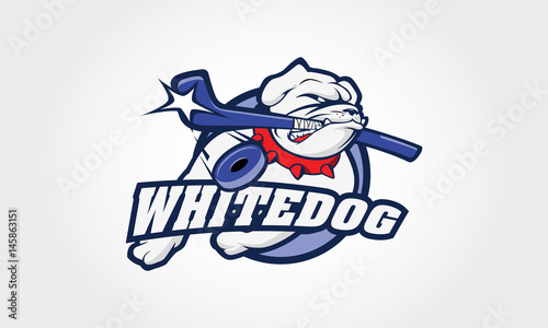 White Bulldog Logo This Is A Ice Hockey Sport Logo Good For Ice