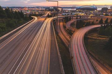 Freeway at Sunset Near Downtown Seattle, WA Long Exposure