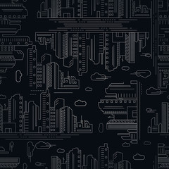 Seamless pattern of skyscrapers in the city. Vector Image