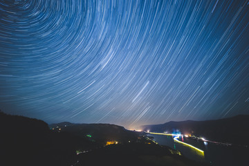 Stars Spinning in Night Sky