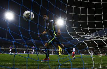 Brighton's Anthony Knockaert celebrates after Brighton's Sebastien Pocognoli scored their second goal