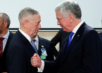 U.S. Defense Secretary Mattis and British Defence Secretary Fallon attend a NATO defence ministers meeting in Brussels