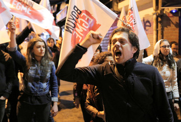 People protest against the results of the referendum in Istanbul