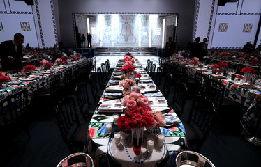 A view of the table decorations at the Monte Carlo Sporting is seen during the Bal de la Rose event in Monaco