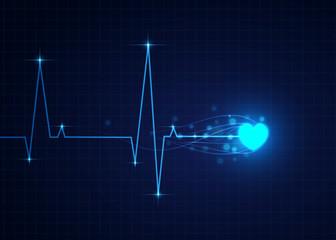 Vector illustration of blue Cardiogram, medical background.