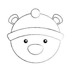 polar bear with winter hat vector illustration design