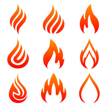 Set of fire. Nine flame. Icon illustration for design - stock vector