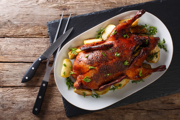 Beautiful food: baked whole duck with apples close-up on a platter. horizontal top view