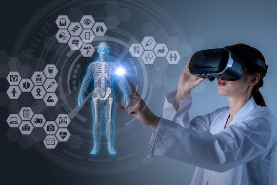 medical technology concept. virtual reality. mixed media abstract.