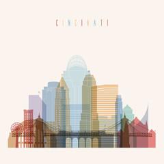 Cincinnati skyline detailed silhouette.