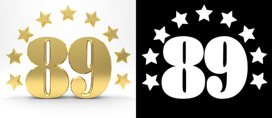 Golden number eighty nine on white background with drop shadow and alpha channel , decorated with a circle of stars. 3D illustration