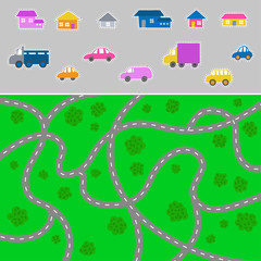 Kid town map - vector city pattern for children and elements for creating a town.