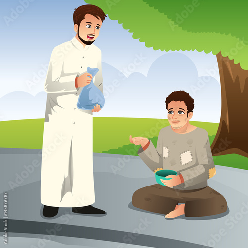 """Muslim Man Giving Donation to a Poor Man"" Stock image and ..."