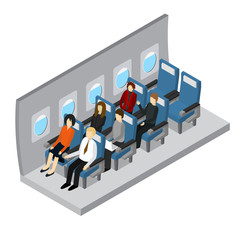 Aircraft Interior Isometric View. Vector