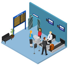 Airport Check In Interior Isometric View. Vector