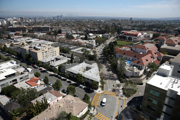 Downtown Los Angeles is seen in the distance behind Beverly Hills High School in the City of Beverly Hills, in Los Angeles