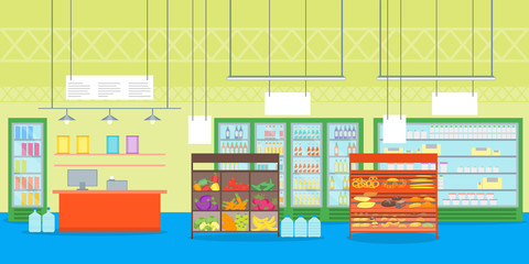 Cartoon Interior Super Market or Shop with Furniture. Vector