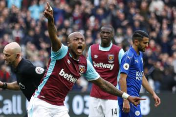 West Ham United's Andre Ayew celebrates scoring their second goal
