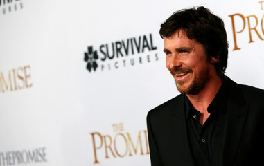 "Cast member Bale poses at the premiere of ""The Promise"" in Los Angeles"
