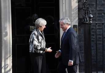 Britain's Prime Minister Theresa May welcomes the President of the European Parliament Antonio Tajani to Downing Street, in London