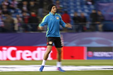 Bayer Leverkusen's Javier Hernandez during the warm up