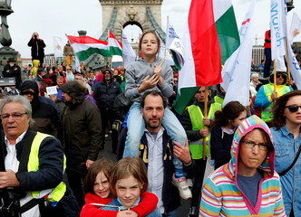 """People participate in the annual """"March of the Living"""" to pay tribute to Hungarian Jews who died during the Holocaust in World War Two, in Budapest"""