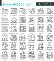 Drinks outline concept symbols. Perfect thin line icons. Alcohol, tea and coffee modern linear style illustrations set.