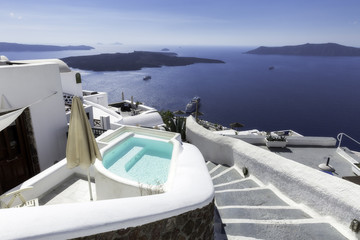 A pool in an exclusive resort in Firostefani village, Santorini island, Greece