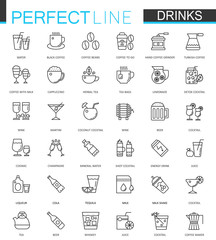 Drinks thin line web icons set. Drink Outline stroke icon design.