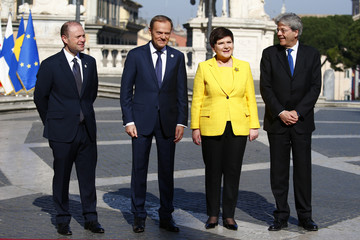 "Malta's PM Muscat, European Council President Tusk, Poland's PM Szydlo and Italy's PM Gentiloni pose for a picture outside the city hall ""Campidoglio"" on the 60th anniversary of the Treaty of Rome, in Rome"