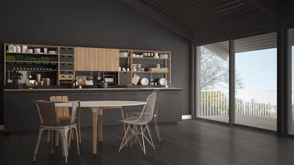 Minimalist gray wooden kitchen, big panoramic window, classic scandinavian interior design