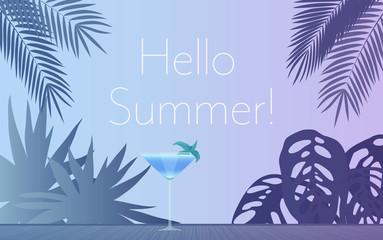 Cocktail Party Invitation Poster. Vector illustration of glass of alcohol cocktail in evening and palm leaves with Hello summer text.