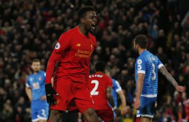 Liverpool's Divock Origi celebrates scoring their second goal