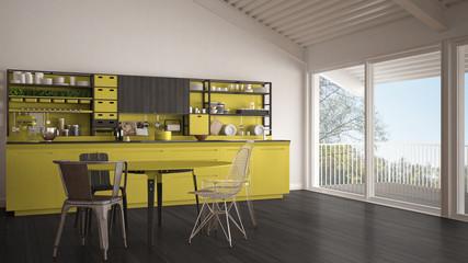 Minimalist gray and yellow wooden kitchen, big panoramic window, classic scandinavian interior design