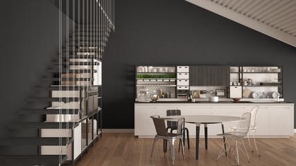 Minimalist white and gray wooden kitchen, loft with stairs, classic scandinavian interior design