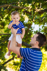 father and little son in the park
