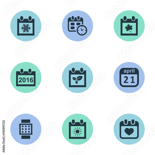 Vector Illustration Set Of Simple Date Icons Elements Plant Summer Calendar And