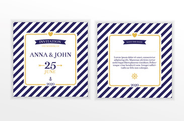 Marine nautical wedding invitation
