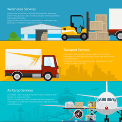 Set of Horizontal Transportation Services and Storage Banners, Warehouse ,Transport and Air Cargo Services, Air and Land Freight, Cargo Delivery, Vector Illustration