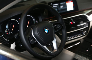 An interior view shows a BMW 5 series car, which is on sale at a dealership in Minsk