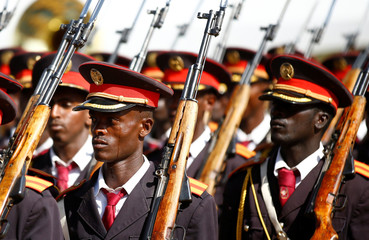 Members of Ethiopia's military parade during the 121st celebration of the battle of Adwa between the Ethiopian Empire and the Kingdom of Italy near the town of Adwa, Ethiopia's Tigray region