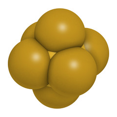 sulfur hexafluoride gas insulator molecule. Microbubbles are used as contrast agent for ultrasound imaging. Potent greenhouse gas. 3D rendering.