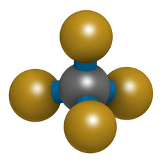 Tetrafluoromethane (carbon tetrafluoride, CF4) greenhouse gas molecule. 3D rendering. Atoms are represented as spheres with conventional color coding: carbon (grey), fluorine (gold).