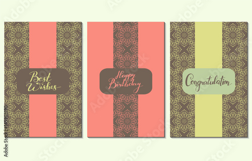 three greeting cards with handwriting words best wishes happy